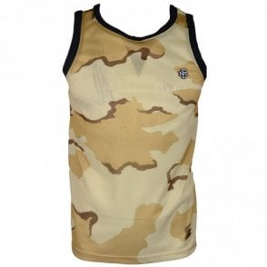 MF382 Polyester Embroidered Logo Desert Camo Tank Top