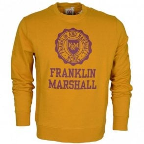 MF434 Round Neck Printed Crest Old Mustard Sweatshirt