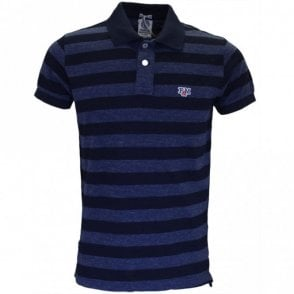 Regular Fit Stripe Blue Melange Polo