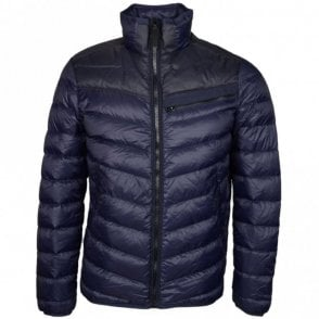 Attac Down Naval Blue Nylon Jacket