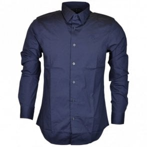 Core Poplin Stretch Plain Slim Navy Shirt