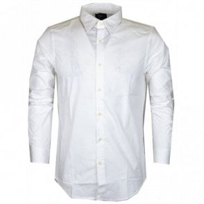 Core Poplin Stretch Plain Slim White Shirt