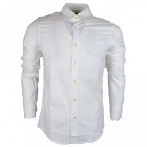 Core Poplin Stretch Plain Super Slim White Shirt