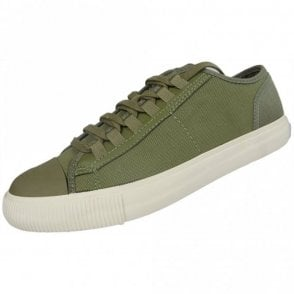 Lace Up Canvas Khaki Trainers
