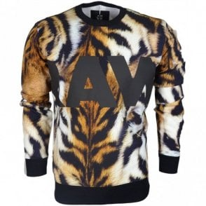 Mostom Hodson White/Roast/Black Tiger Print Sweatshirt