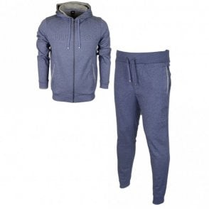 50381426 50381886 Cotton Regular Fit Hooded Blue Melange Tracksuit