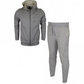 50381426 50381886 Cotton Regular Fit Hooded Grey Melange Tracksuit