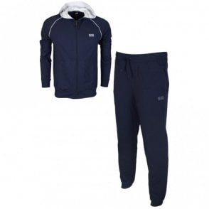 50381879 50379005 Cotton Regular Fit Thin Hooded Navy Tracksuit