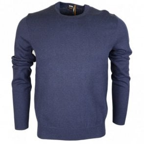 Albonok Cotton Blend Slim Fit Navy Jumper