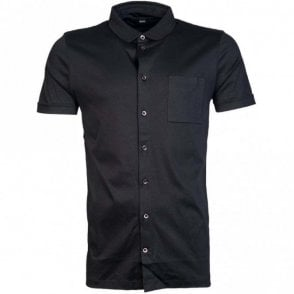 Puno Slim Fit Polo Collared Black Shirt