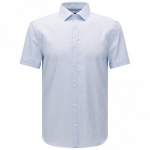 Textured Jats Short Sleeve Slim Fit Light Blue Shirt