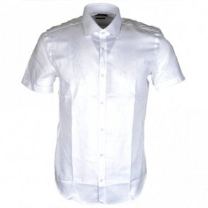 Textured Jats Short Sleeve Slim Fit White Shirt