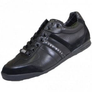Aki Leather Black Trainer