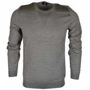 Leno Round Neck Wool Olive Green Jumper