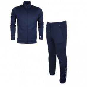 SL-Tech Cotton Slim Fit Funnel Zip Navy Tracksuit