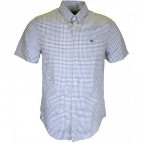 CH7381 Slim Fit Short Sleeve Check WHite/Blue Shirt