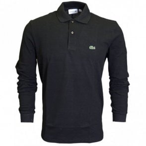L1312 Long Sleeve Pique Black Polo