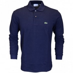 L1312 Long Sleeve Pique Navy Polo