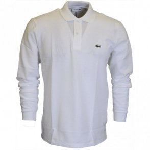 L1312 Long Sleeve Pique White Polo