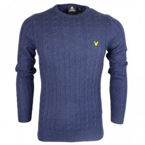 Crew Neck Ribbed Knit Cotton Navy Jumper