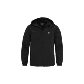 JK464V Hooded Zip Windbreaker Black Jacket