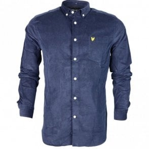 LW717V Cotton Mini Cord Long Sleeve Navy Shirt