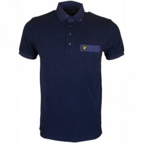 Running Stitch Short Sleeve New Navy Polo