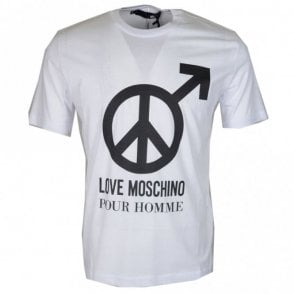 M47321NM3876 Love Moschino Printed Slim Fit White T-Shirt
