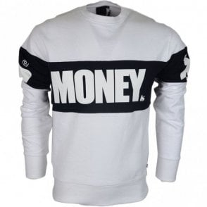 Block Crew Neck White Sweatshirt