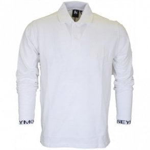 Intarsia Long Sleeve White Polo