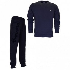 Intarsia Sig Suede Round Neck Navy Tracksuit