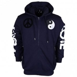 M313501M3875 Regular Fit Peace & Love Logo Hooded Navy Zip Up