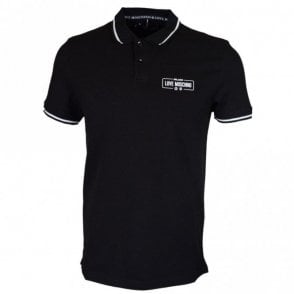 M830412E1786 Cotton Stitched Logo Black Polo