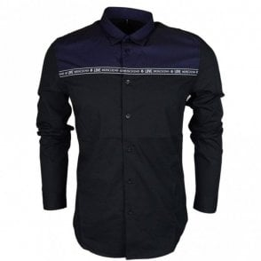 MC7308CS2891 Slim Fit Stretch Black/Navy Shirt