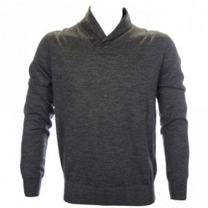 Shawl Neck Merino Wool Windsor Grey Knitwear