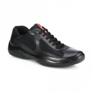 Leather America's Cup Mesh Black Trainers