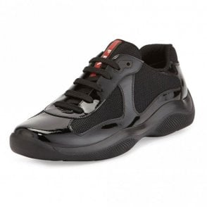 Patent Leather America's Cup Mesh Black Trainers