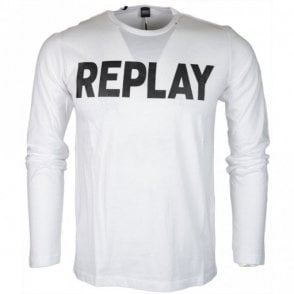 M3330S Round Neck Logo Long Sleeve White T-Shirt