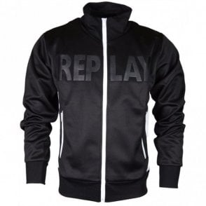 M3444 Polyester Zip Up Black/White Fleece
