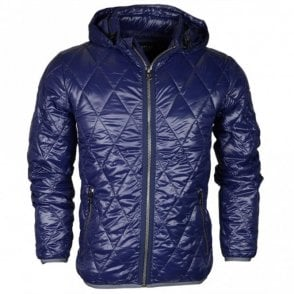 M8854 Hooded Quilted Puffer Navy Jacket