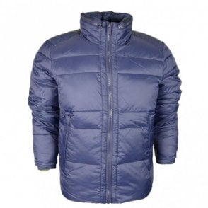 Quilted High Neck Navy Jacket