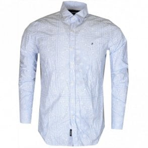 Regular Fit Printed Cotton Sky Blue Shirt