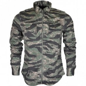 Regular Fit Printed Zip Cotton Camo Overshirt
