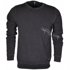 Round Neck Cotton Faded Black Sweatshirt