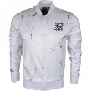 Poly Tricot Polyester Off White Marble Zip Up Fleece