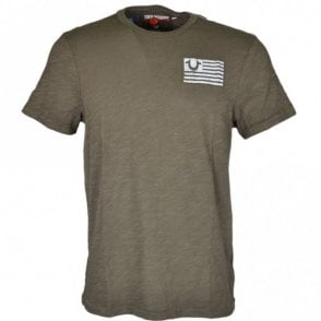 M11006C085 Stacked Logos Printed Khaki T-Shirt