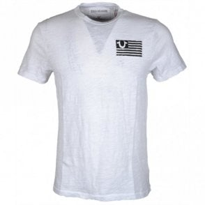 M11006C085 Stacked Logos Printed White T-Shirt