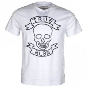 Neon Skull Optic White Cotton White T-Shirt