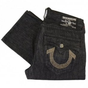 Ricky Nickel Stud Logo Black Jeans