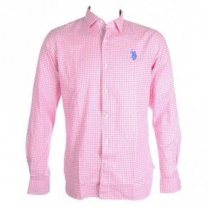 Lowell Slim Fit Checkered Pink Shirt